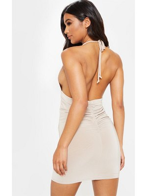 PrettyLittleThing slinky halterneck ruched back bodycon dress