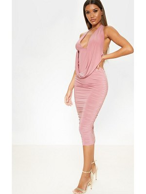 PrettyLittleThing slinky halterneck ruched drape midi dress