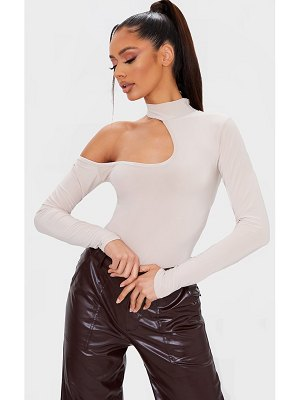 PrettyLittleThing slinky high neck cut out long sleeve bodysuit