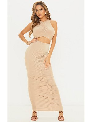 PrettyLittleThing slinky high neck sleeveless cut out ruched maxi dress