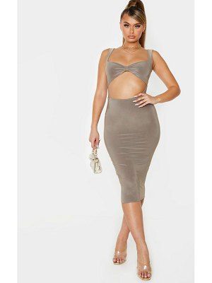 PrettyLittleThing slinky knot detail cut out midi dress
