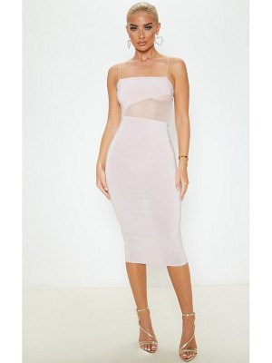 PrettyLittleThing slinky mesh insert strappy midi dress