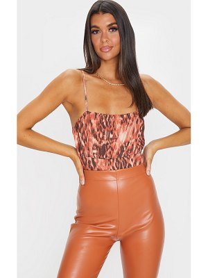 PrettyLittleThing slinky mixed animal printed ruched bust bodysuit