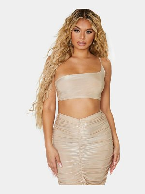 PrettyLittleThing slinky one shoulder spaghetti strap crop top