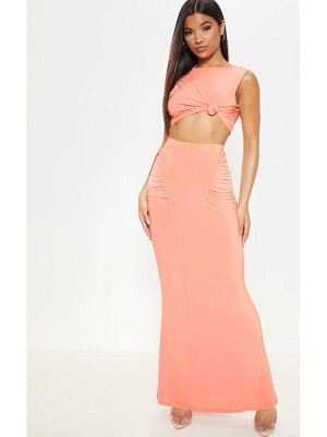 PrettyLittleThing slinky ruched detail maxi skirt