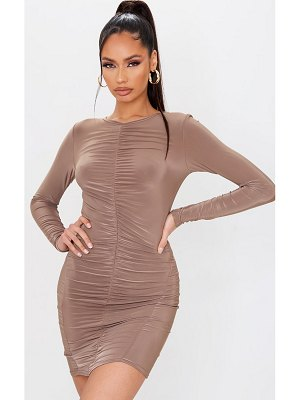 PrettyLittleThing slinky ruched front long sleeve bodycon dress