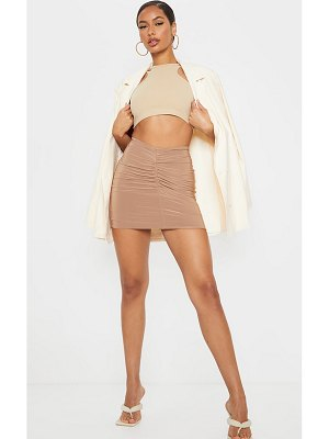 PrettyLittleThing slinky ruched front mini skirt