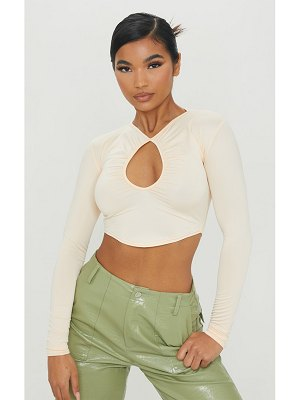 PrettyLittleThing slinky ruched keyhole long sleeve crop top