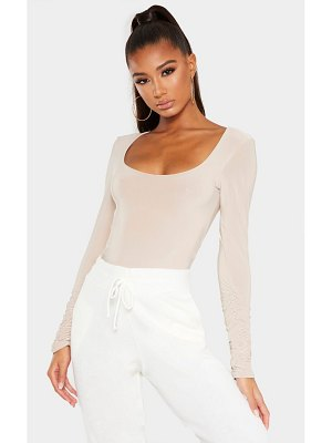 PrettyLittleThing slinky ruched long sleeve bodysuit