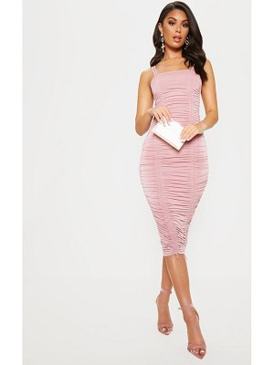 PrettyLittleThing slinky ruched midaxi dress
