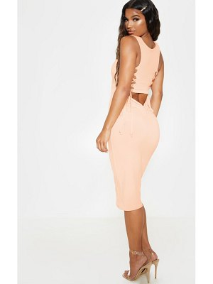 PrettyLittleThing slinky ruched tie back detail midi dress