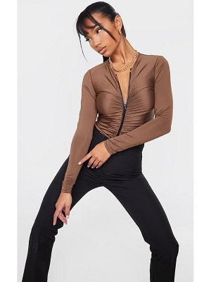 PrettyLittleThing slinky ruched zip front long sleeve bodysuit