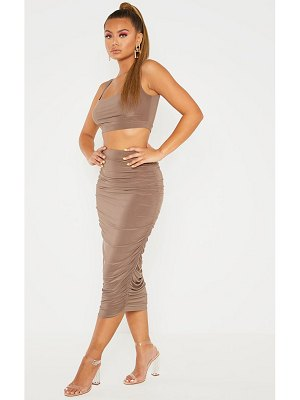 PrettyLittleThing slinky second skin ruched midi skirt