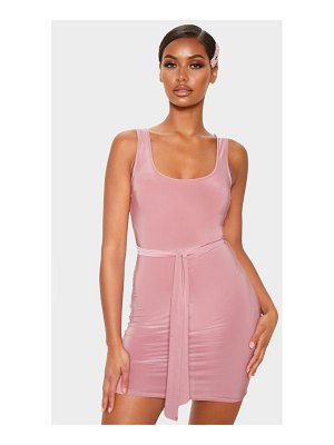 PrettyLittleThing slinky sleeveless tie waist bodycon dress