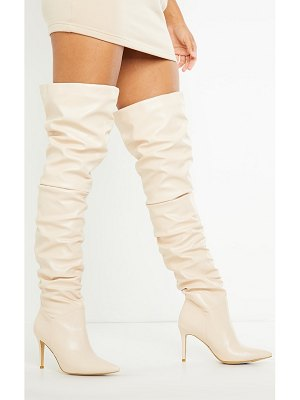 PrettyLittleThing slouch mid heel point toe thigh high boot