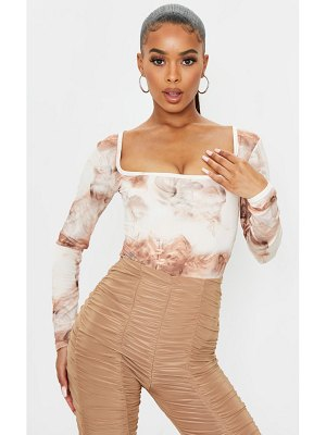 PrettyLittleThing smoke printed soft touch square neck long sleeve bodysuit