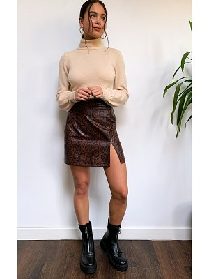 PrettyLittleThing snake faux leather split front mini skirt