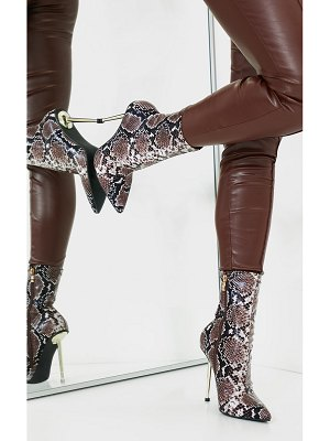 PrettyLittleThing snake metal heeled boots
