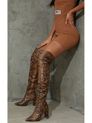 PrettyLittleThing snake point toe flat heel over the knee boots