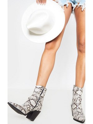 PrettyLittleThing snake point toe western heel ankle boot