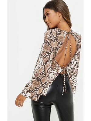 PrettyLittleThing snake print backless blouse