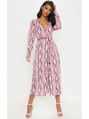 PrettyLittleThing snake print belted midi dress