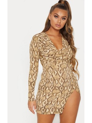 PrettyLittleThing snake print cowl neck bodycon dress