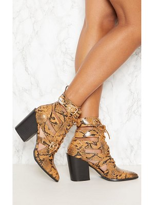 PrettyLittleThing snake print cut out heeled boots
