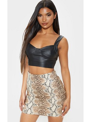 PrettyLittleThing snake print faux leather bodycon mini skirt