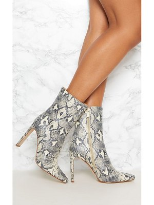 PrettyLittleThing snake print flat heel ankle boot