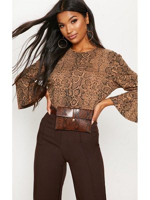 PrettyLittleThing snake print flute sleeve crop top