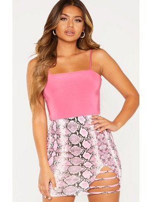 PrettyLittleThing snake print ladder detail mini skirt