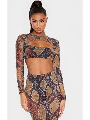 PrettyLittleThing snake print mesh cut out long sleeve crop top