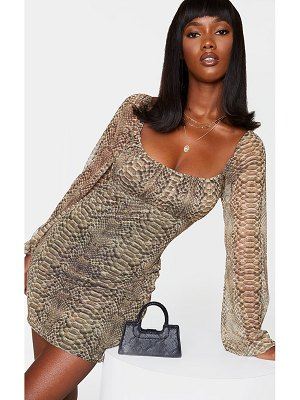PrettyLittleThing snake print mesh ruched bust long sleeve bodycon dress