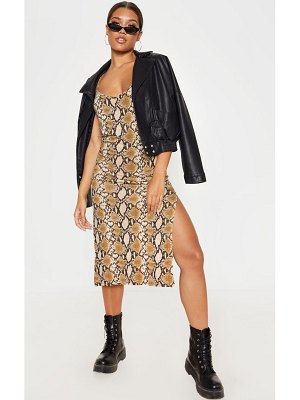 PrettyLittleThing snake print midi split dress