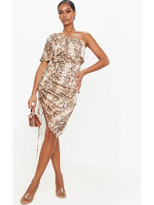 PrettyLittleThing snake print one shoulder ruched side midi dress