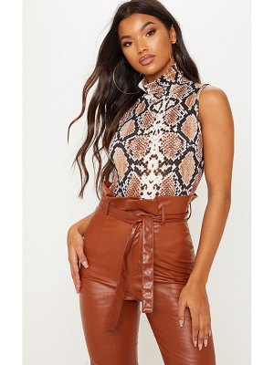 PrettyLittleThing snake print roll neck sleeveless bodysuit
