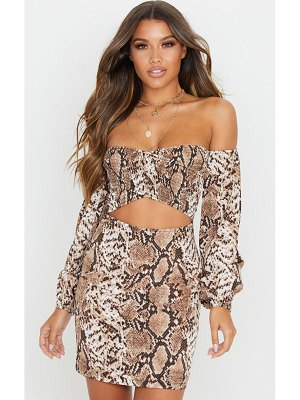 PrettyLittleThing snake print ruched bust cut out bardot shift dress