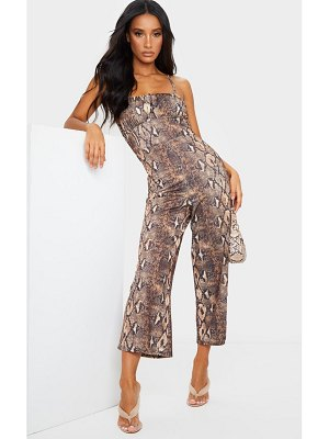 PrettyLittleThing snake print ruched bust strappy culotte jumpsuit