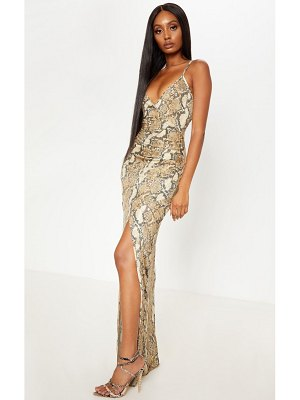 PrettyLittleThing snake print ruched thigh split maxi dress