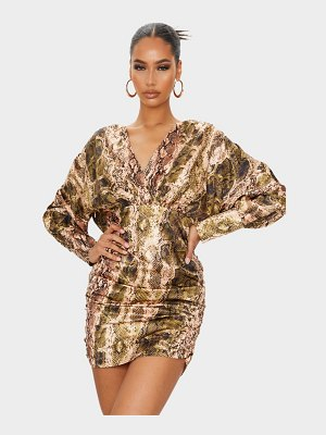 PrettyLittleThing snake print satin plunge long sleeve ruched bodycon dress