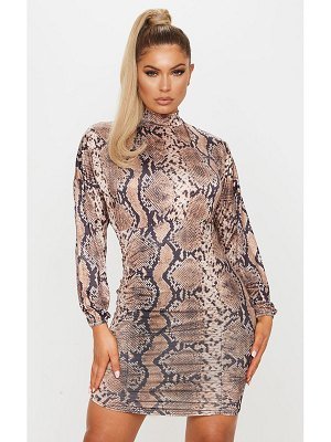 PrettyLittleThing snake print slinky high neck long sleeve ruched bodycon dress