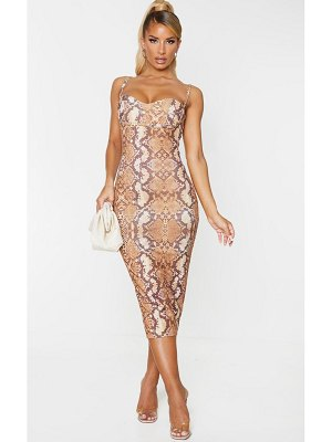 PrettyLittleThing snake print strappy cup detail midi dress