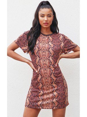 PrettyLittleThing snake print t-shirt dress