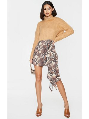 PrettyLittleThing snake print waterfall tie detail mini skirt