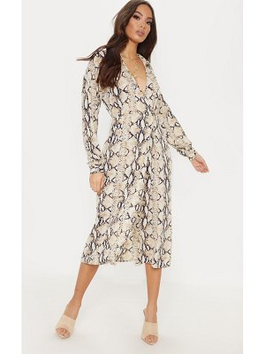 PrettyLittleThing snake print wrap midi dress