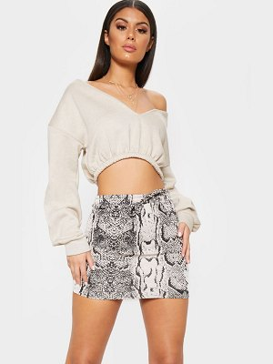 PrettyLittleThing snake printed drawstring waist sweat mini skirt
