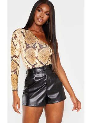 PrettyLittleThing snake printed one shoulder bodysuit