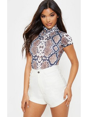 PrettyLittleThing snake roll neck short sleeve bodysuit