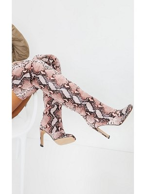 PrettyLittleThing snake square toe flat heel thigh high boots